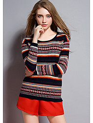 Women's Casual/Daily Simple Regular Pullover,Striped Multi-color Round Neck Long Sleeve Cashmere Cotton Fall Winter Medium Micro-elastic
