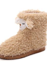 Women's Boots Winter Comfort Fur Casual Flat Heel Black Pink Beige