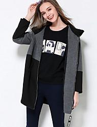 Manteau Femme,Couleur Pleine Décontracté / Quotidien / Grandes Tailles simple Manches Longues Capuche Noir Rayonne / Nylon / Spandex Epais