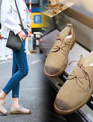 Damen-Flache Schuhe-Lässig-WildlederKomfort-Braun / Beige