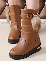 Women's Boots Winter Other PU Fur Casual Flat Heel Black Brown White Walking