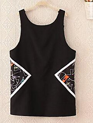 Mujer Línea A Vestido Casual/Diario Simple,Un Color Escote Redondo Mini Sin Mangas Negro Poliéster Verano Tiro Alto Microelástico Fino