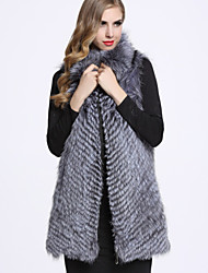 BF-Fur Style Women's Going out Sophisticated Fur CoatSolid Shirt Collar Sleeveless Winter Gray Fox Fur