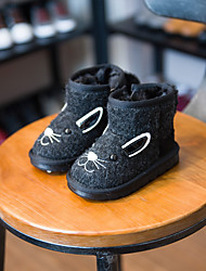 Kids' Girls' Baby Boots Comfort Snow Boots Fur Winter Casual Comfort Snow Boots Platform Black Gray Flat