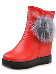 Women's Boots Winter Increased Within Abrasionproof Pom-pom Thick Warm Comfort PU Dress / Casual Platform