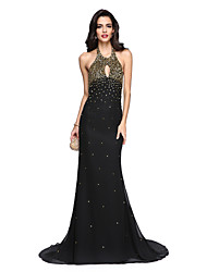 TS Couture Formal Evening Dress - Beautiful Back Trumpet / Mermaid Halter Floor-length Chiffon Charmeuse with Beading