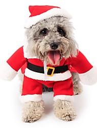 Коты Собаки Костюмы Комбинезоны Одежда для собак Зима Мультфильмы Милые Косплей Рождество Красный