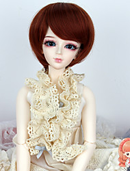 1/3 1/4 BJD SD Doll Wigs Synthetic Short Straight Bob Copper Brown Color Hair Wig Not for Human Adult
