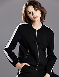 INPLUS LADY Women's Casual/Daily Simple JacketsStriped V Neck Long Sleeve Fall / Winter Black Polyester / Nylon