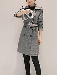 Manteau Femme,Pied-de-poule Sortie Chic de Rue Manches Longues Col de Chemise Gris Laine / Polyester Epais Hiver
