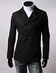 Men's Casual/Daily Simple Trench Coat,Solid Shirt Collar Long Sleeve All Seasons Blue / Red / Black / Gray / Yellow Wool Medium