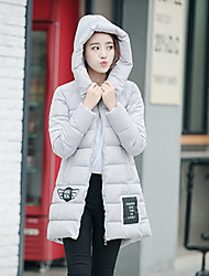 Women's Down Coat,Simple Casual/Daily Solid-Polyester / CottonWhite Duck Down / Without Filling Material / White Goose Down / Feather /