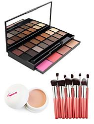 20 Corretivo+Sombra para Olhos+Gloss Labial+Pincéis de Maquiagem Molhado Olhos / Rosto / LábiosCobertura / Longa Duração / Corretivo /