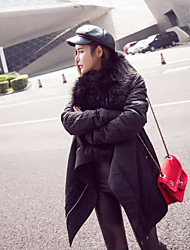 Women's Long Padded Coat,Street chic / Sophisticated Work / Sports Solid-Cotton Cotton Long Sleeve Halter Black