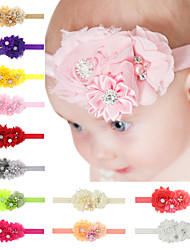 Baby Chiffon Headband Handmade Flower Hair Accessories With Rhinestone In Center