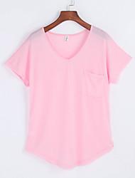 Damen Solide Einfach Lässig/Alltäglich T-shirt,V-Ausschnitt Sommer Kurzarm Blau / Rosa / Grau Baumwolle Mittel