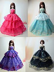 Fête / Soirée Robes Pour Poupée Barbie Rouge / Pourpre clair / Noir / Bleu Ciel Robes Pour Fille de Doll Toy