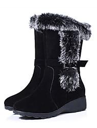 Women's Boots Winter Comfort Sheepskin Casual Wedge Heel Black Red