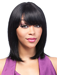Capless Women Short Kinky Straight Natural Black Synthetic Wigs with Free Hair Net