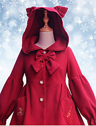 Coat Sweet Lolita Cosplay Lolita Dress Red Solid Long Sleeve Knee-length For Women Woolen