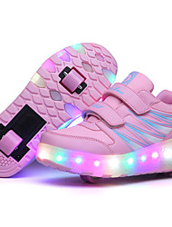 Girl's Roller Skate Shoes / Ultra-light Two Wheel Skating LED Light Shoes / Athletic / Casual LED Shoes Black Pink