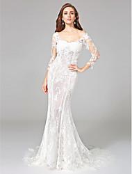 Lanting Bride® Русалка Свадебное платье - Классика Открытая спина Со шлейфом средней длины Приспущенные плечи Кружева с Аппликации