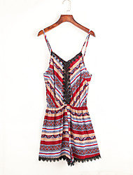 Women's Print Red Jumpsuits,Street chic Strap Sleeveless