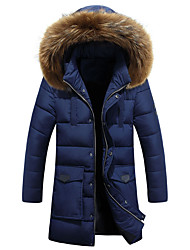 Men's Long Padded Coat,Simple Casual/Daily Solid-Polyester Polyester Long Sleeve Hooded