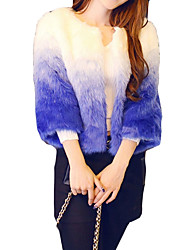 Women's Casual/Daily Simple Fur Coat,Color Block Round Neck ¾ Sleeve Winter Blue Faux Fur Thick