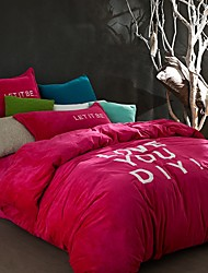 Simple Plain Flannel Bedding Sets