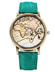 Hombre Mujer Reloj de Moda Reloj de Pulsera Cuarzo Punk Esfera Grande Tejido Banda Cosecha Bohemio Encanto Cool Casual Mapa del Mundo