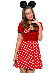 Cosplay Costumes Party Costume Career Costumes Bunny Girls Festival/Holiday Halloween Costumes Red Polka Dot Dress HeadwearHalloween