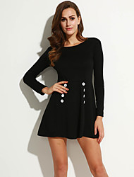 Women's Going out Vintage A Line Dress,Solid Round Neck Above Knee Long Sleeve Black Cotton Fall