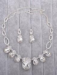 Jewelry 1 Necklace / 1 Pair of Earrings Imitation Pearl / Rhinestone Wedding 1set Women Silver Wedding Gifts