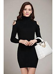 Damen Standard Pullover-Lässig/Alltäglich Einfach Solide Weiß Schwarz Grau Hemdkragen Langarm Kaschmir Herbst Winter Mittel