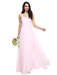 2017 Lanting Bride® Floor-length Chiffon Elegant Bridesmaid Dress - A-line Straps with Sash