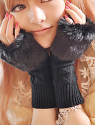 Rabbit Fur Half Finger Wrist Length,Jacquard Casual Winter