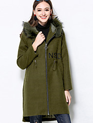 MEIDONGTAI  Women's Plus Size / Casual/Daily Vintage CoatSolid Hooded Long Sleeve Winter Green Polyester Medium