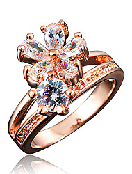 Women's Rose Gold Plating Engagement Ring with Blue Zircon