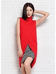 Normal Pullover Femme Décontracté / Quotidien simple,Couleur Pleine Bleu Rouge Col Roulé Sans Manches Polyester Automne Moyen