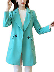Women's Fashion Solid Shirt Collar Long Thick Winter Woolen Coat