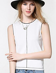 Women's Going out Vintage Regular Vest,Solid Round Neck Sleeveless Polyester Summer Medium Micro-elastic