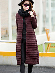 Women's Long Down Coat,Street chic Work Solid-Cotton Polypropylene / Cotton Long Sleeve Stand Black