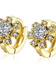 New Pretty Sun Flower Shiny Gold Ear Cuff Clip On Earrings For Women Trendy Clip Earring Girl Gift  Fashion Jewelry E139