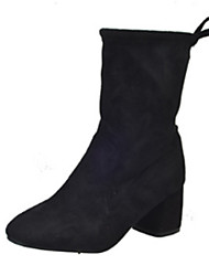 Women's Boots Winter Comfort PU Casual Chunky Heel Lace-up Split Joint Black Red Gray Khaki