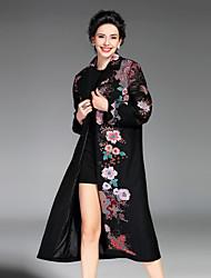 Manteau Femme,Broderie Décontracté / Quotidien / Grandes Tailles Chinoiserie Manches Longues Col de Chemise Rouge / Noir / Vert Polyester
