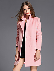 Women's Casual/Daily Simple Coat,Solid Shirt Collar Long Sleeve Fall / Winter Pink / Red Wool Medium