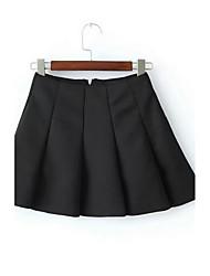 Mujer Sexy Sencillo Casual/Diario Mini Faldas,Columpio Plisado Otoño Invierno Un Color
