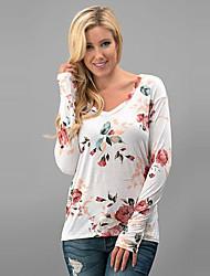 Tee-shirt Femme,Fleur Sortie / Décontracté / Quotidien Vintage / Chic de Rue Printemps / Automne Manches Longues Col en V Blanc Polyester