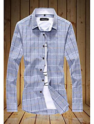 Men's Going out Simple Spring Shirt,Solid / Check Round Neck Long Sleeve Red / Gray Cotton Medium